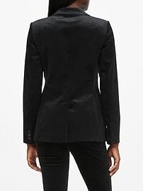 Petite Long and Lean-Fit Velvet Blazer