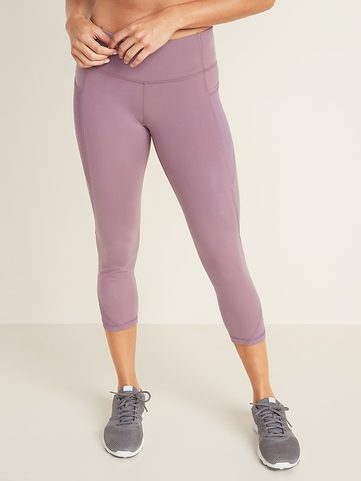 Mid-Rise Elevate Side-Pocket Mesh-Trim Compression Crops for Women