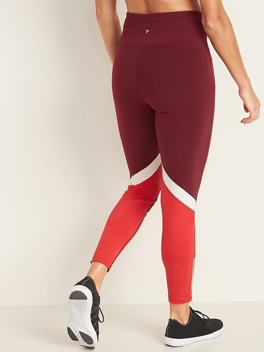 High-Waisted Color-Blocked Side-Zip Elevate 7/8-Length Leggings For Women
