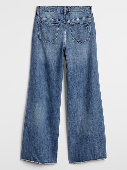 Kids High Rise Wide-Leg Jeans with Raw Hem