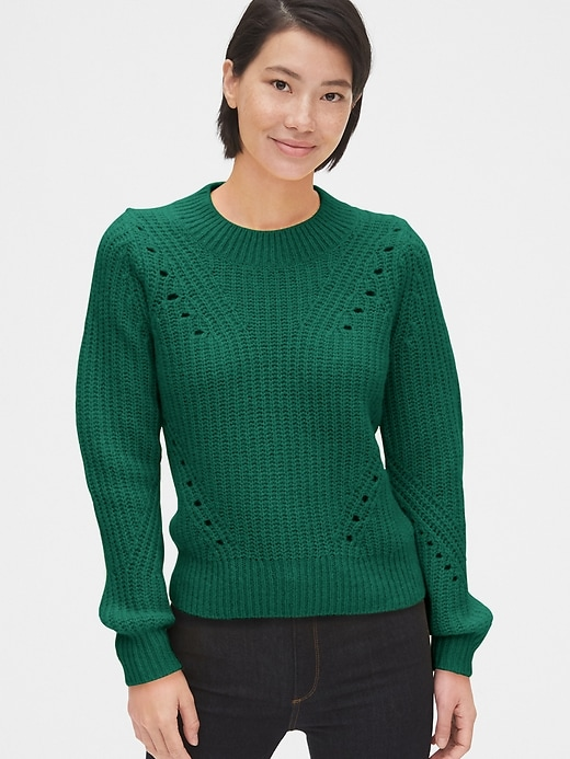 Brushed Wool-Blend Pointelle Crewneck Sweater