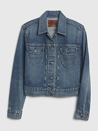 1969 Premium Pleated Icon Denim Jacket with Back Buckle