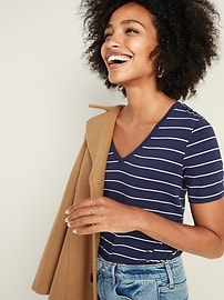 Luxe V-Neck Striped Tee for Women