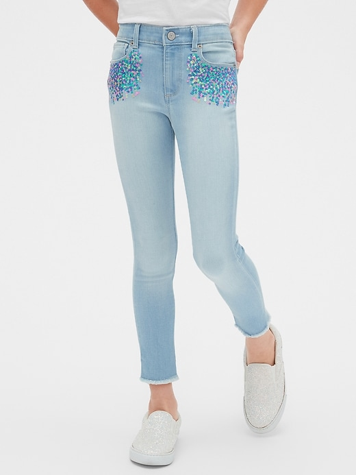 Kids Sequin Super Skinny Jeans with Stretch