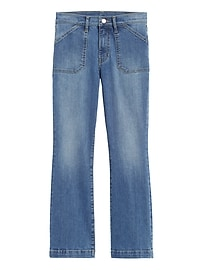 Mid-Rise Crop Flare Utility Jean