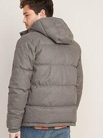 Brushed Herringbone Hooded Puffer Jacket for Men
