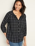 Deals on Old Navy Plaid Gauze Split-Neck Blouse for Women