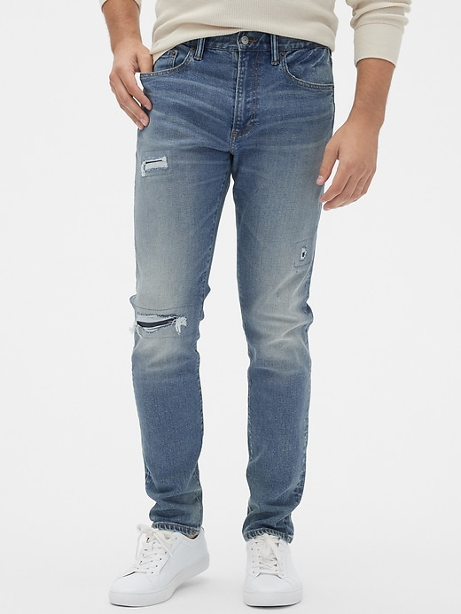 Distressed Slim Taper Jeans with GapFlex