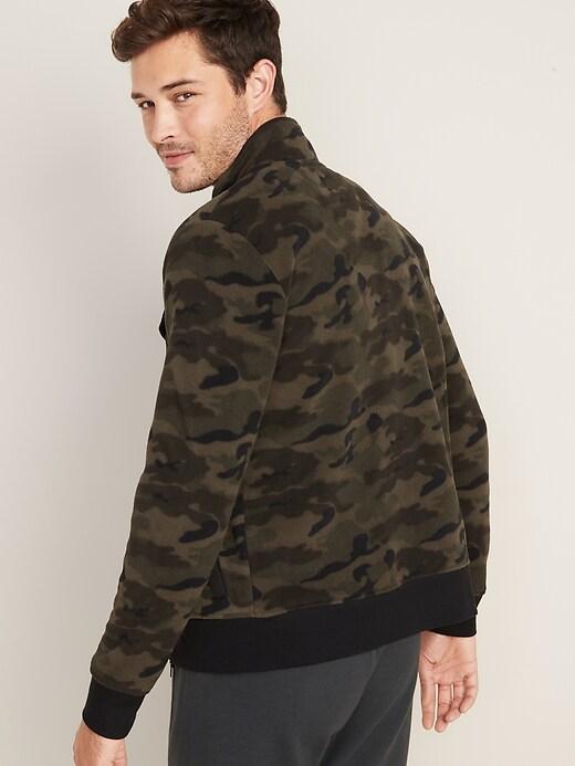 Camo Micro Performance Fleece Chest-Pocket Zip Jacket for Men