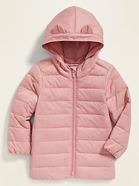 Packable Quilted Nylon Puffer Jacket for Toddler Girls