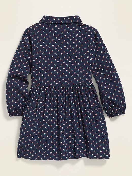 Printed Popover Shirt Dress for Toddler Girls