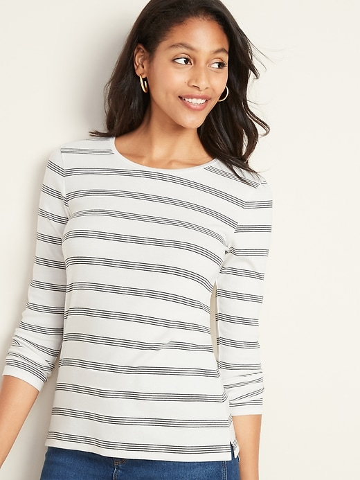 Slim-Fit Striped Rib-Knit Tee for Women