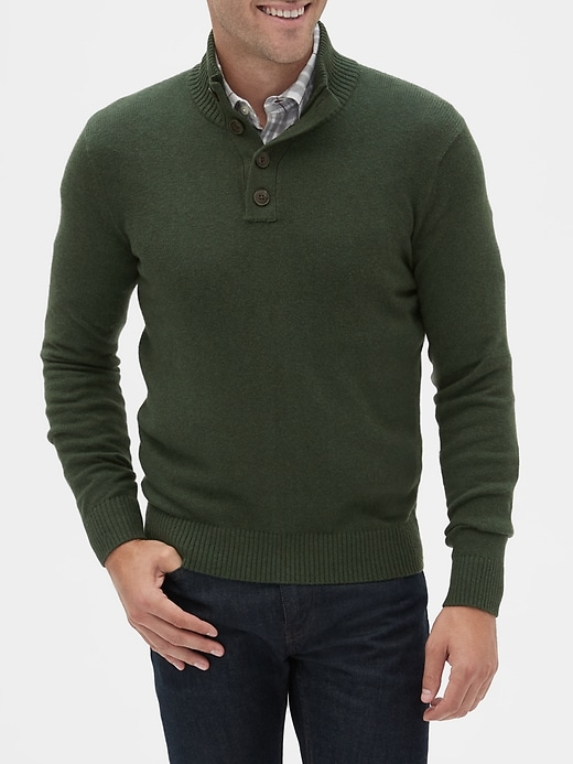 Button Mock-Neck Sweater