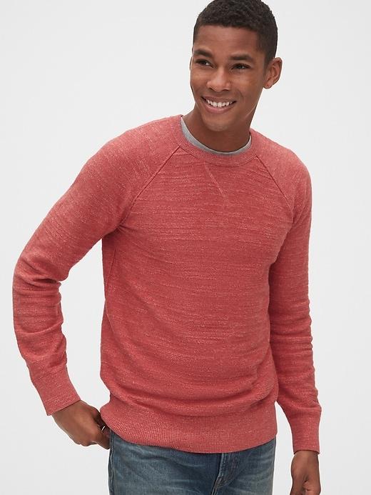 Pull raglan ras du cou en tricot grège de coton