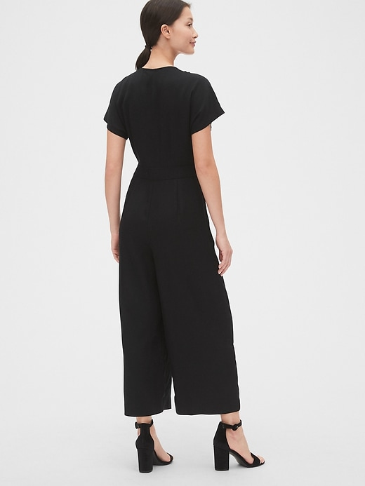 Pleated Button-Front Jumpsuit in TENCEL&#153