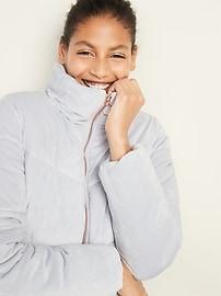 Quilted Velour Zip Jacket for Women