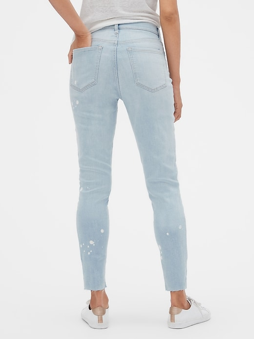 High Rise Legging Jeans with Bleach Detail