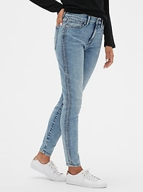 High Rise Embroidered Legging Jeans