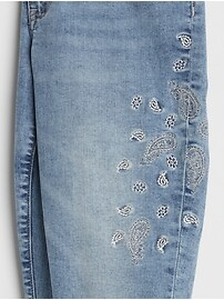 Mid Rise Embroidered Legging Skimmer Jeans