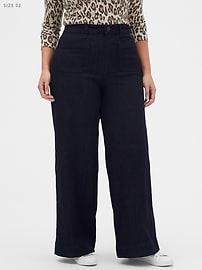High-Rise Wide-Leg Denim Rinse Jean
