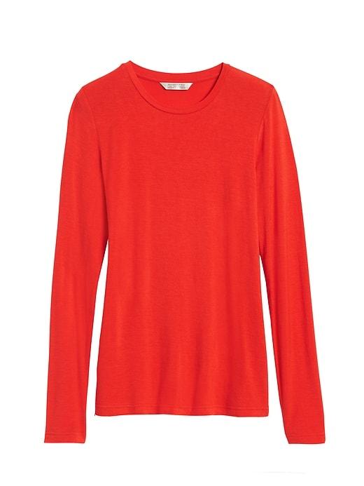 Rayon-Wool Crew-Neck T-Shirt