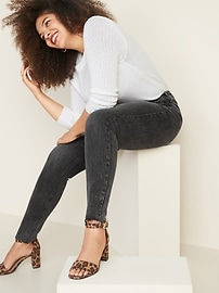 High-Waisted Button-Fly Rockstar Super Skinny Ankle Jeans For Women