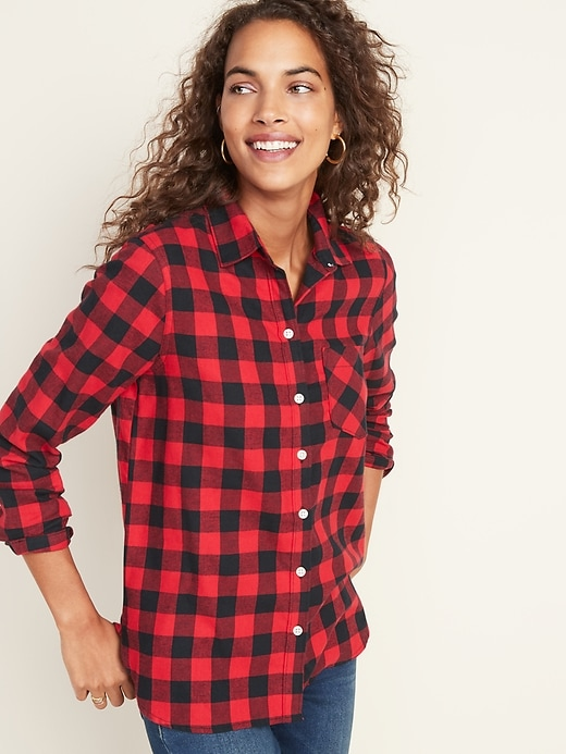 Patterned Flannel Classic Shirt for Women
