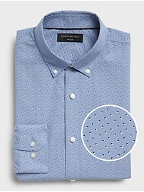 Deals on Banana Republic Factory Mens Slim-Fit Non-Iron Print Shirt