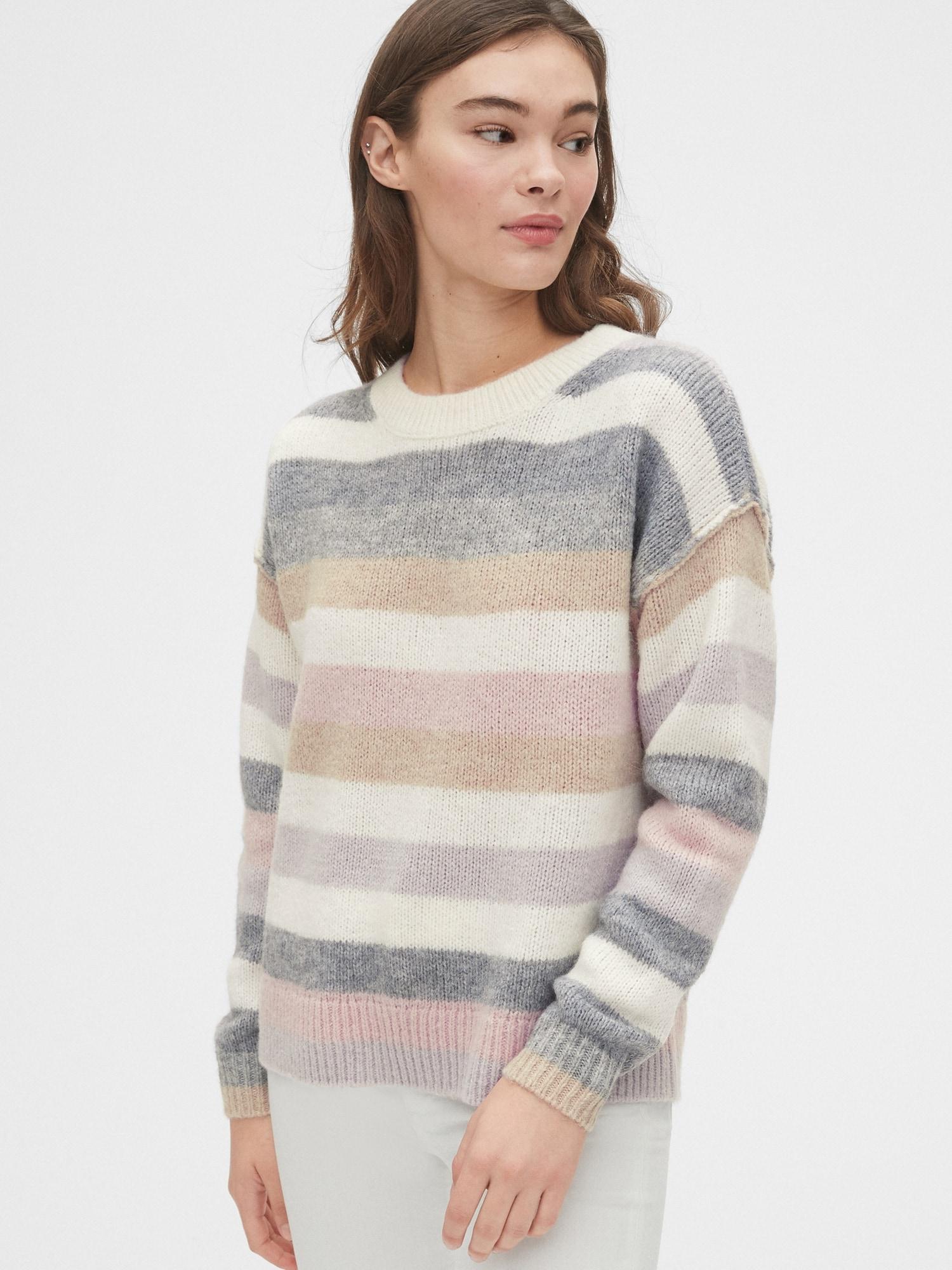 リラックスウール混紡ストライプクルーネックセーター