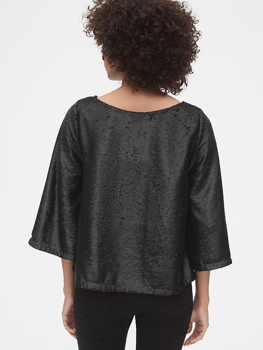 Three-Quarter Sleeve Sequin Top