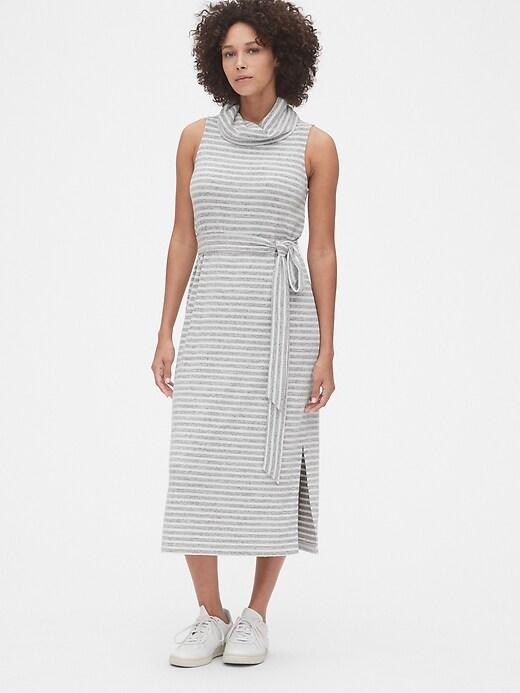 Softspun Turtleneck Tie-Belt Midi Dress