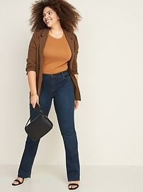 Mid-Rise Dark-Wash Kicker Boot-Cut Jeans for Women