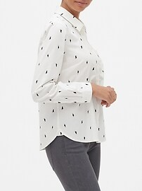 Untucked Cat Print Classic Shirt
