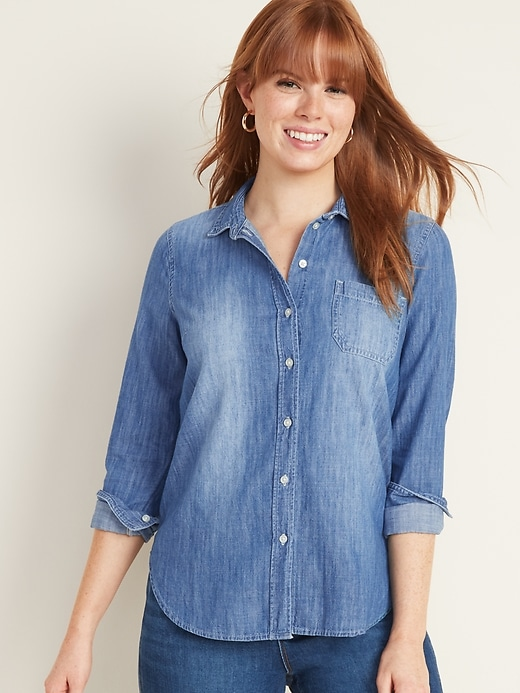 Relaxed Chambray Classic Shirt for Women