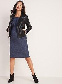 Maternity Plush-Knit Twist-Front Bodycon Dress