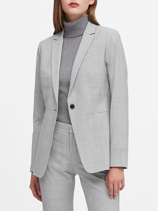 Petite Long and Lean-Fit Washable Wool-Blend Blazer