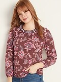 Old Navy Embroidered-Neck Jersey Top for Women Deals