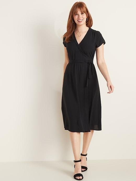Wrap-Front Midi Dress for Women