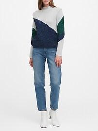 Metallic Color-Block Cropped Sweater