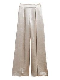 Petite High-Rise Wide-Leg Satin Pant