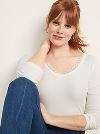 Lace-Trim Bracelet-Sleeve Rib-Knit Top for Women