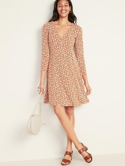 Fit & Flare Empire-Waist Jersey Dress for Women