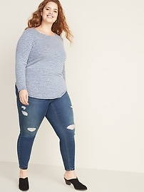 High-Waisted Plus-Size Distressed Rockstar Jeggings