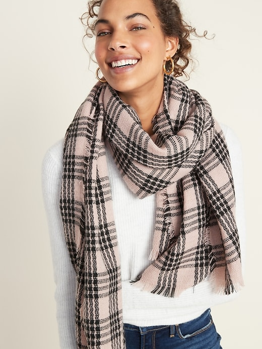 Fringed Oversized Flannel Scarf for Women