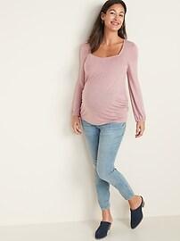 Maternity Blouson-Sleeve Square-Neck Sparkle Top