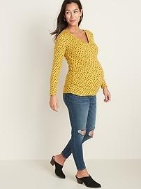 Maternity Long-Sleeve Twist-Front Rib-Knit Top