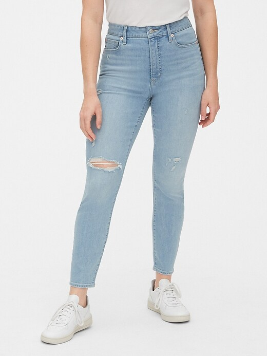 High Rise Curvy Distressed True Skinny Ankle Jeans with Secret Smoothing Pockets