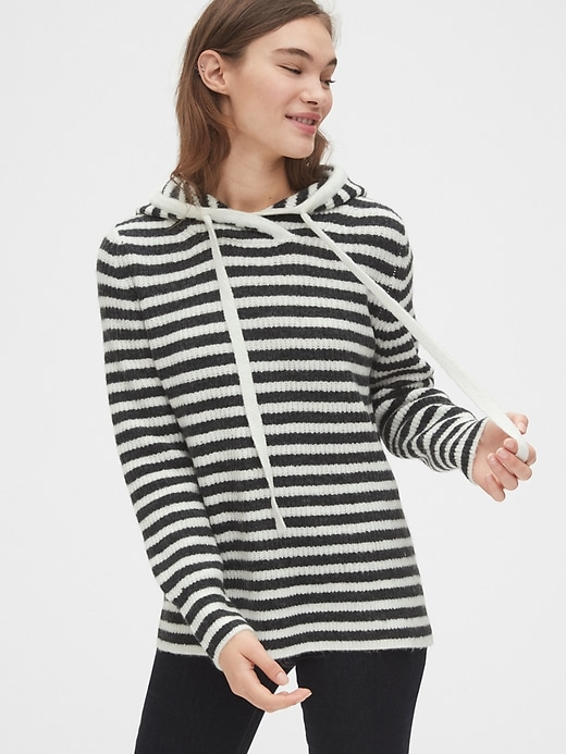 Ribbed Pullover Hoodie Sweater