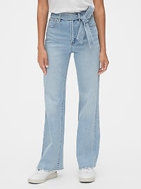 High Rise Tie-Belt Denim Trousers with Secret Smoothing Pockets