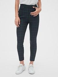 High Rise Plaid Skinny Ankle Pants